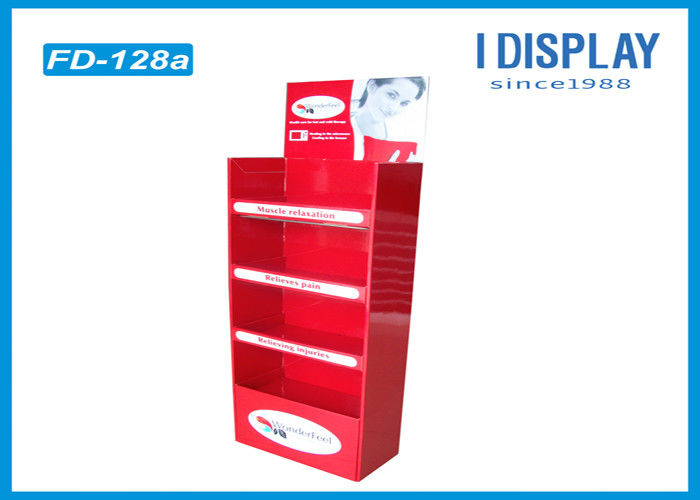 Folding Floor Acrylic Display Stands , Red Custom Corrugated Floor Displays