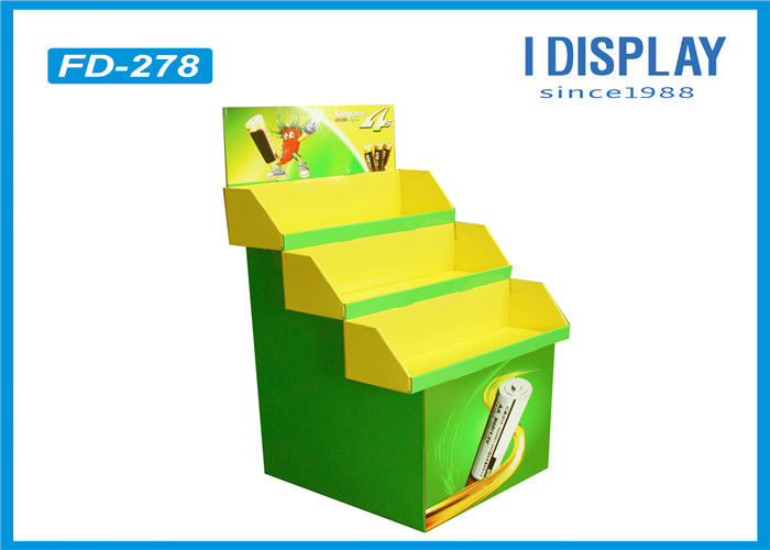 Battery Green Cardboard Retail Pallet Displays Shelves With 3 Pallets